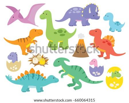 Vector illustration of dinosaurs including Stegosaurus, Brontosaurus, Velociraptor, Triceratops, Tyrannosaurus rex, Spinosaurus, and Pterosaurs. - Shutterstock ID 660064315