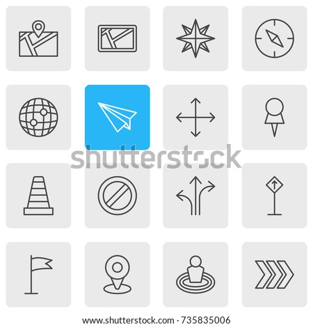 Vector Illustration Of 16 Direction Icons. Editable Pack Of Pin, Map, Navigation And Other Elements.