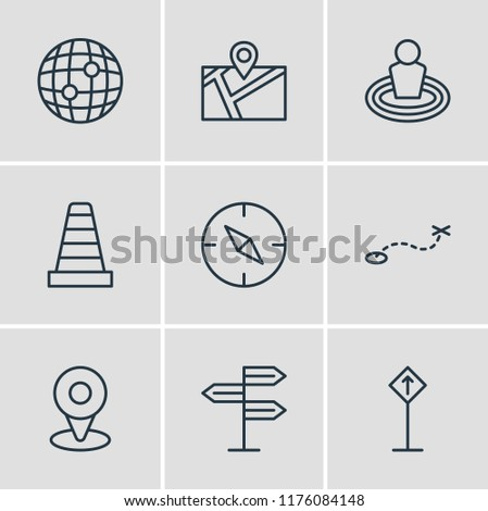 Vector illustration of 9 direction icons line style. Editable set of read sign, check-in, orientation and other icon elements.
