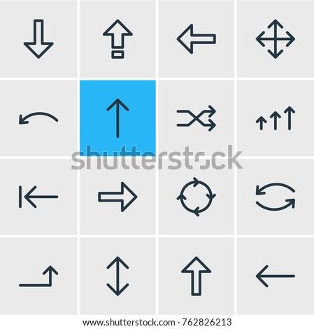Shutterstock Vector Illustration Of 16 Direction Outline Icons. Editable Set Of Randomize, Undo, Up Elements.
