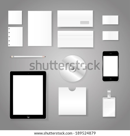 vector illustration of disc pencil papers sheets and plate number for the business on a gray background