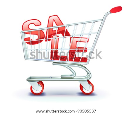 Vector illustration of discount concept with shopping cart