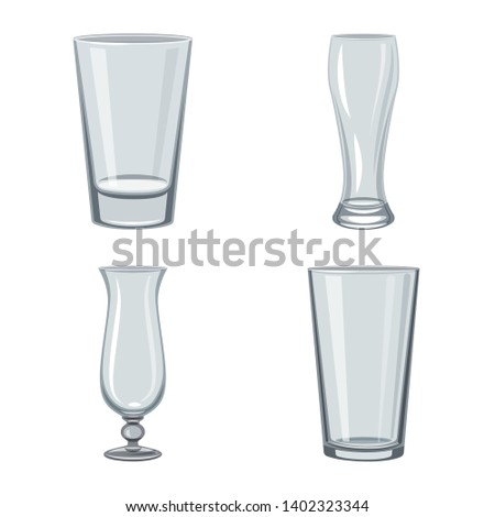 Vector illustration of dishes and container symbol. Set of dishes and glassware vector icon for stock.