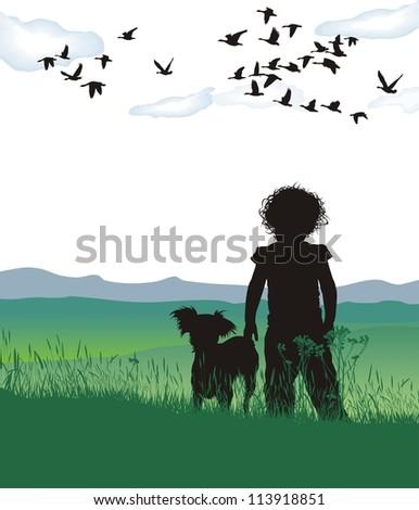 vector illustration of disheveled girl dog
