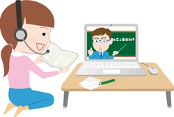 Vector illustration of distance learning online education