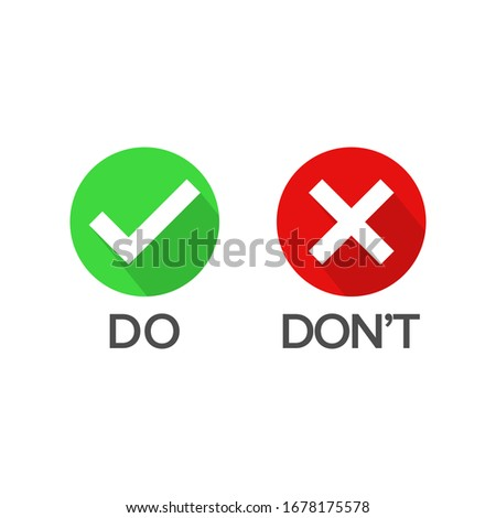 Vector illustration of Do and Don't button choice. Suitable for elements of advice info graphic information or tips. Check mark and cross mark icon. Zdjęcia stock ©