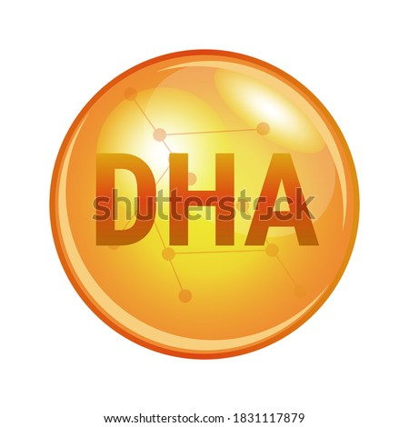 Vector illustration of docosahexaenoic acid DHA found in omega-3 fatty acids. Vector medical or pharmaceutical icon of capsule for health. Gold shining pill isolated on a white background. Foto stock ©