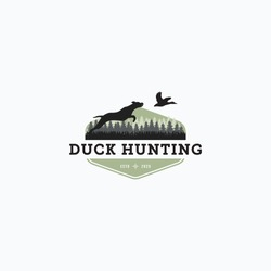 Vector illustration of dog hunt the flying duck good for duck hunting club logo, badge, and sticker design