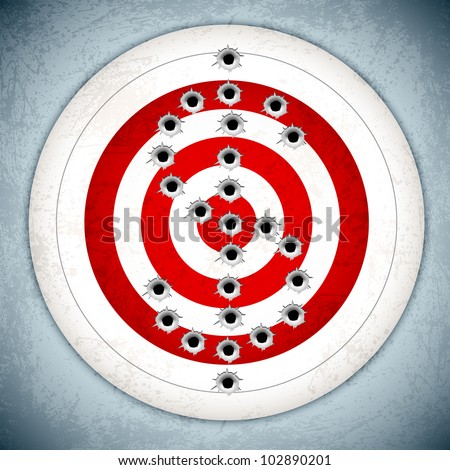 vector illustration of dollar mark with bullet hole on target board