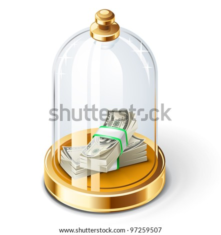 Vector illustration of dollars under the glass dome on white background.