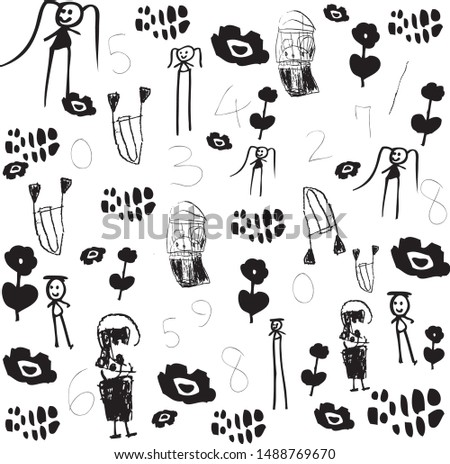 Vector illustration of doodle children hand drawing, Digital hand drawing, Children characters hand drawing, flower hand drawing