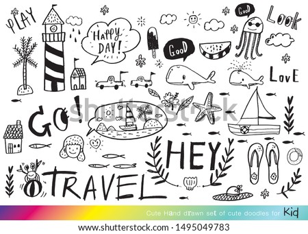 Vector illustration of Doodle cute for kid, Hand drawn set of cute doodles for decoration,Funny Doodle Hand Drawn,Summer, Doodle set of objects from a child's life,Merry Christmas
