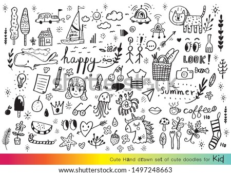 Vector illustration of Doodle cute for kid. Hand drawn set of cute doodles for decoration. Funny Doodle Hand Drawn. Summer,Doodle set of objects from a child's life