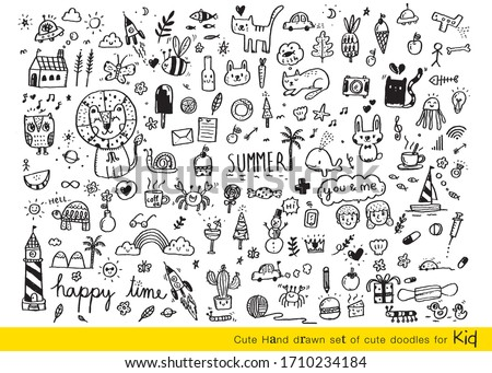 Vector illustration of Doodle cute for kid, Hand drawn set of cute doodles for decoration,Funny Doodle Hand Drawn, Summer, Doodle set of objects from a child's life