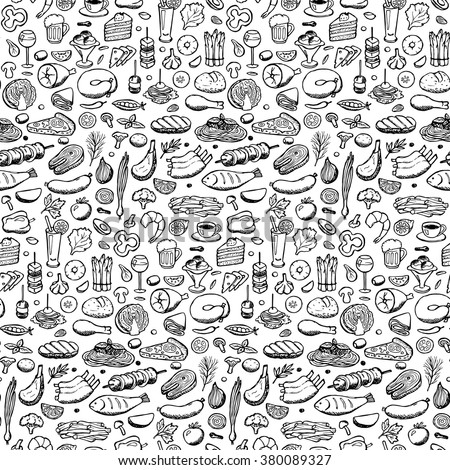 Vector illustration of doodle food and drink elements for backgrounds, textile prints, covers, posters, menu