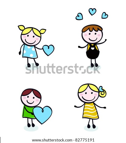 Vector Illustration of doodle retro kids isolated on white.