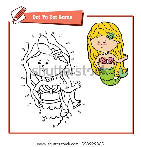 Vector illustration of dot to dot educational puzzle game with happy cartoon mermaid for children