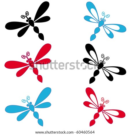 Vector illustration of dragonflies in fantasy colors.