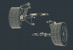 Vector illustration of drawings of the suspension of an SUV