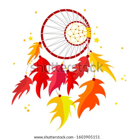 Vector illustration of Dream Catcher, sacred amulet, protective talisman. Design for printing, posters, t-shirts, textiles. Сток-фото ©