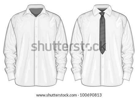 Vector illustration of dress shirt (button-down) with neckties. Front view #100690813
