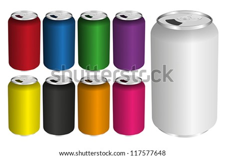 Vector Illustration of Drink Cans in Various Colors Isolated on White