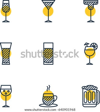 Vector Illustration Of 9 Drinks Icons. Editable Pack Of Aqua, Martini, Lemonade And Other Elements.