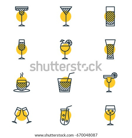 Vector Illustration Of 12 Drinks Icons. Editable Pack Of Drink, Lemonade, Beverage And Other Elements.