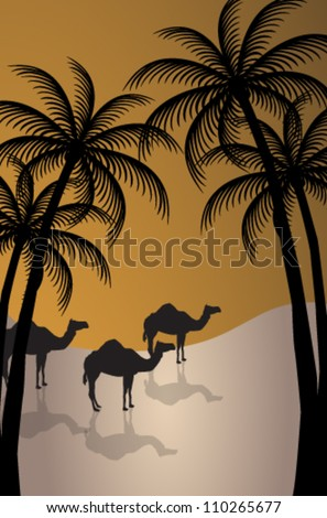 Vector illustration of dromedary and palmiers silhouette