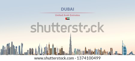 Vector illustration of Dubai city skyline on colorful gradient beautiful day sky background