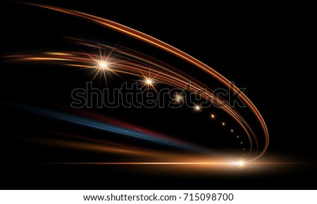 Vector illustration of dynamic lights in dark. High speed road in night time abstraction. City road car light trails motion background.