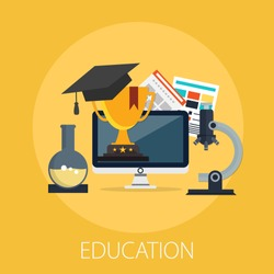 Vector illustration of e learning and online education concept with