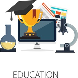 Vector illustration of e learning & online education concept with