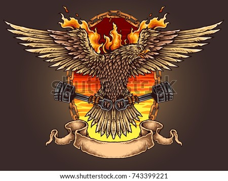 Vector illustration of Eagle spreading wings holding pistons with chain flame banner and sunset sky * Description/Title/Caption: