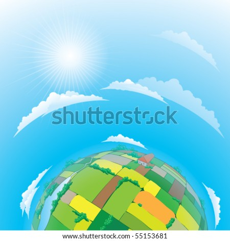 Vector illustration of earth globe with agricultural fields