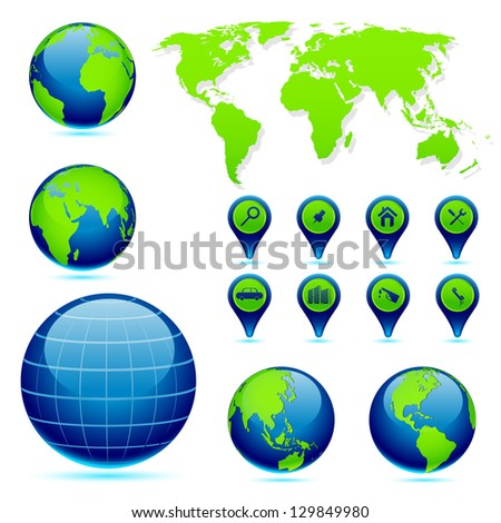 vector illustration of Earth in different perspective with World Map