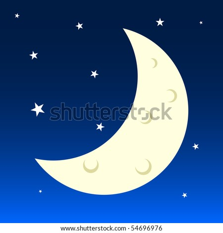Vector Illustration of Earth's Moon and Stars