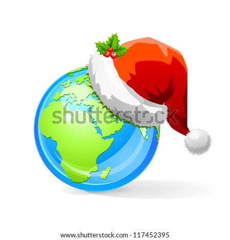 Vector illustration of Earth with Santa Claus hat.