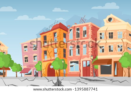 Vector illustration of earthquake in the city, ground crevices. Cartoon colorful houses with cracks and damages. Natural disaster concept, cataclysm, catastrophe. flat style.