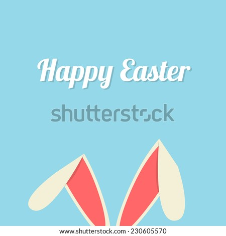 Vector illustration of Easter bunny ears card
