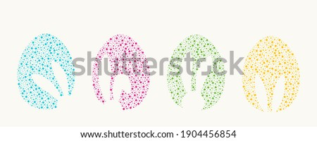 Vector illustration of Easter Eggs drawing by dots different sizes. Easter eggs shapes with bunny ears silhouette.