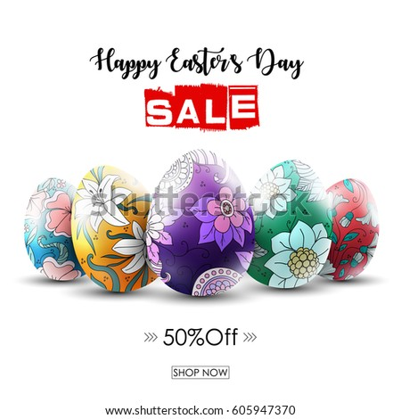 Vector illustration of Easter sale banner with ornamental easter eggs #605947370