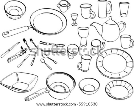 vector illustration of eating and cooking utensils