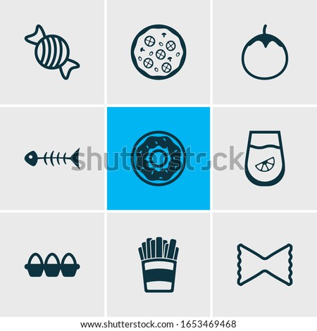 Vector illustration of 9 eating icons line style. Editable set of tray of eggs, fishbone, pizza and other icon elements.