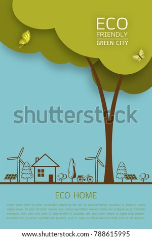 Vector illustration of eco earth with of wind turbine, bike, solar cell, house, and trees. Background for save earth day. Environmental, ecology, nature protection and pollution concept.
