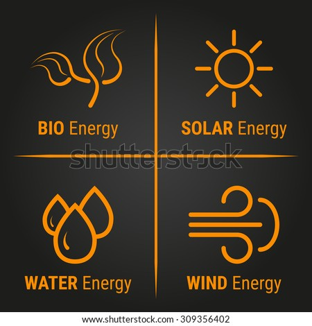 Vector illustration of eco energy logo. Icons with alternative sources of energy. Labels.