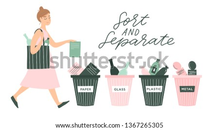 Vector illustration of eco people in flat doodle cartoon style. Man and woman sorting waste, Trash can for separating. Zero waste concept poster, card, banner