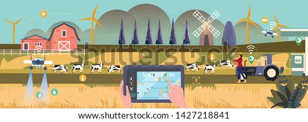 Vector illustration of eco smart farming management with internet of thing system (IOT).Farmer hold/use tablet devices to monitoring,settle farm activites and conect to selling data or selling on line