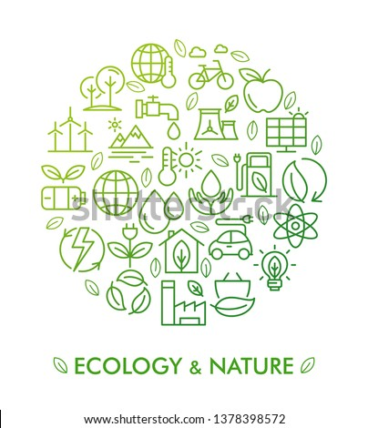 Vector illustration of ecology, nature and zero waste. Infographic concept for logo, banner, publishing, web, graphic design. Organic and natural emblem. Recycling ecological design.Alternative energy
