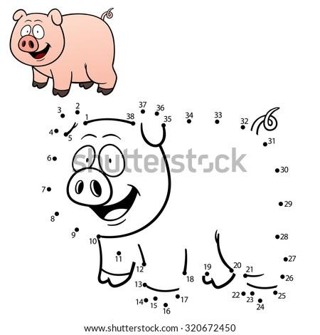 Vector Illustration of Education dot to dot game - Pig
